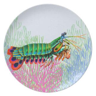 Placa del animal del filón del camarón de predicad