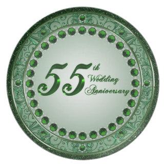 Placa del aniversario de boda 55 plato para fiesta