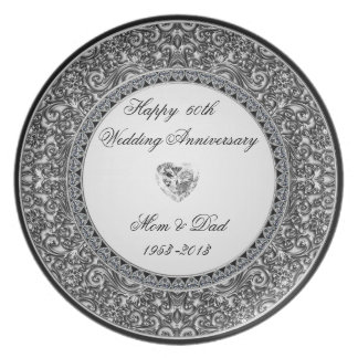 Placa del aniversario de boda de diamante platos de comidas