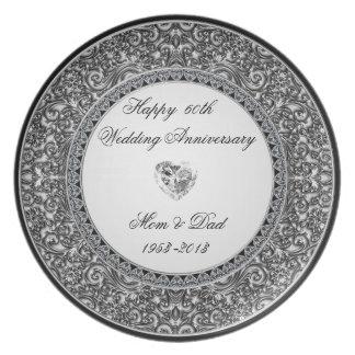 Placa del aniversario de boda de diamante plato de comida