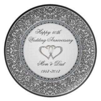 Placa del aniversario de boda de diamante plato para fiesta