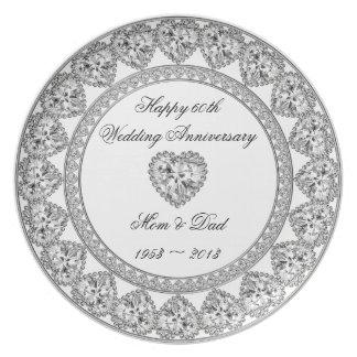 Placa del aniversario de boda de diamante platos