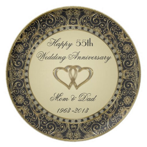 Placa del aniversario de boda de oro plato de cena