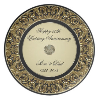 Placa del aniversario de boda de oro platos de comidas