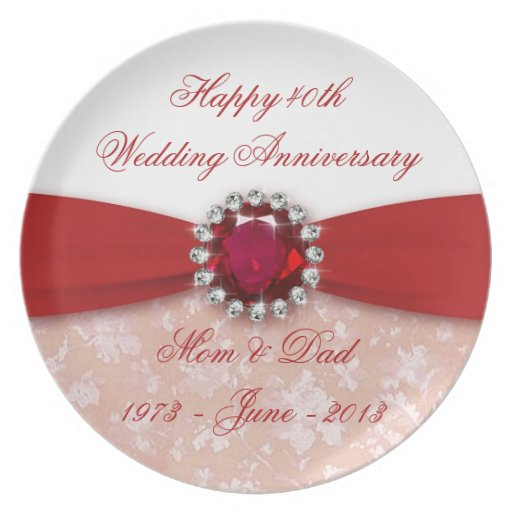 Placa del aniversario de boda del damasco 40.o plato de cena