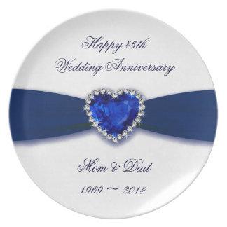 Placa del aniversario de boda del damasco 45.o platos de comidas