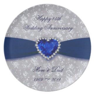 Placa del aniversario de boda del damasco 45 o