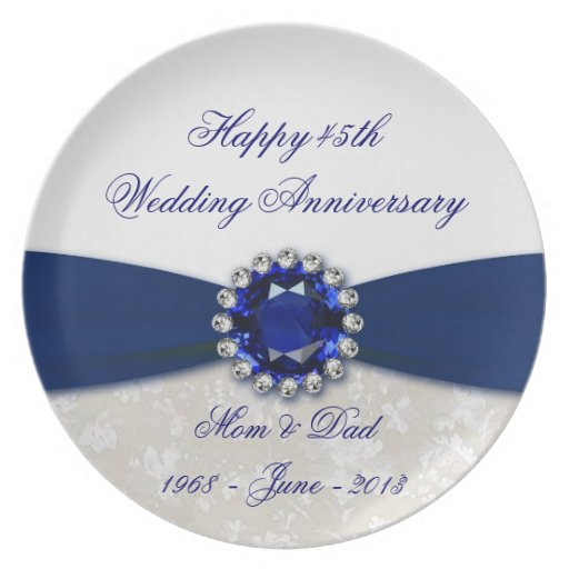 Placa del aniversario de boda del damasco 45.o plato de comida