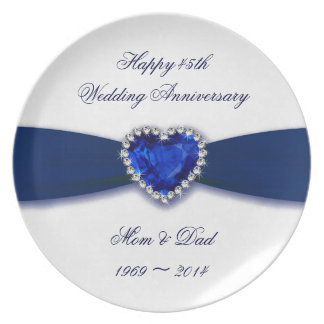 Placa del aniversario de boda del damasco 45.o plato para fiesta