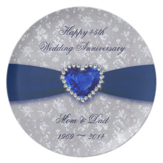 Placa del aniversario de boda del damasco 45.o platos