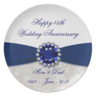 Placa del aniversario de boda del damasco 45.o plato