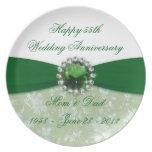 Placa del aniversario de boda del damasco 55.o plato