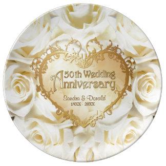 Placa del aniversario de boda del rosa blanco 50.o plato de cerámica