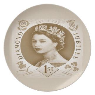 Placa del aniversario del jubileo de diamante del  platos