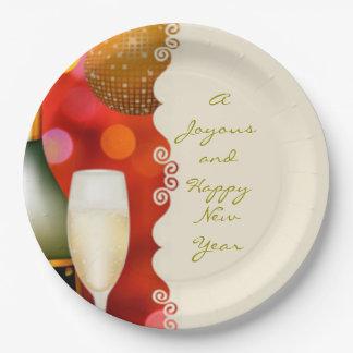 Placa del Año Nuevo de la bola de discoteca de Plato De Papel De 9 Pulgadas