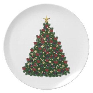 Placa del árbol de navidad plato para fiesta