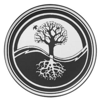 Placa del árbol de Yin Yang Plato De Cena