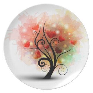 Placa del árbol del corazón plato de comida