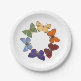 Placa del arco iris de la mariposa platos de papel