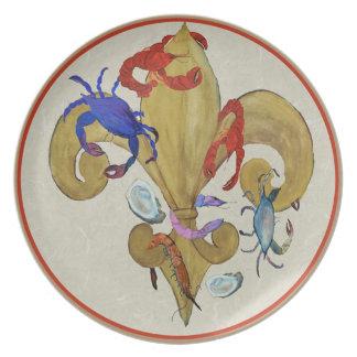 Placa del arte de la flor de lis de Cajun Plato De Cena