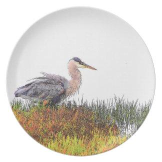 Placa del arte de la garza de los humedales platos de comidas