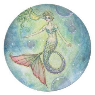Placa del arte de la sirena de la acuarela por Mol Plato De Cena