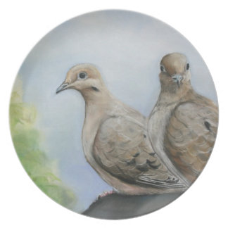 Placa del arte de las palomas de luto plato para fiesta