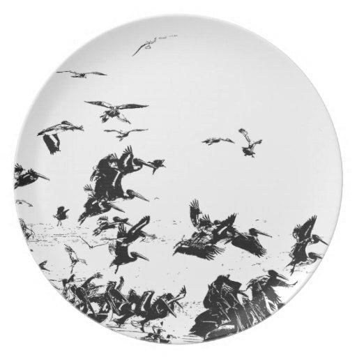 Placa del arte de los pájaros del pelícano platos