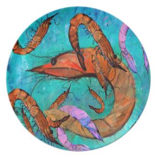 Placa del arte del fiesta del camarón plato de comida