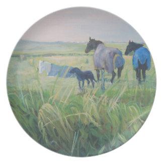 Placa del arte del labrador retriever plato de comida