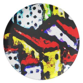 Placa del arte moderno - tejados 2 de la ciudad plato de comida