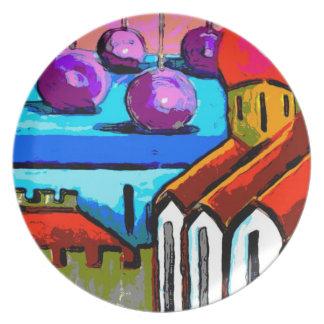 Placa del arte moderno - tejados de la ciudad plato de comida
