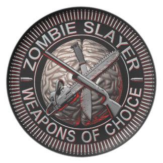 Placa del asesino del zombi plato para fiesta