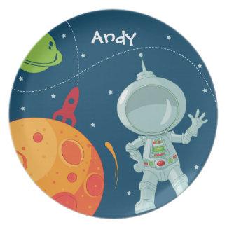 Placa del astronauta del espacio exterior platos
