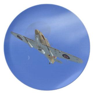 Placa del avión de combate del huracán del vendedo plato de comida