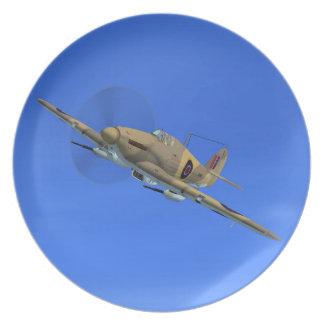 Placa del avión de combate del huracán del vendedo platos de comidas