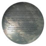 Placa del azul de cielo con el bautismo de Jesús Plato