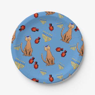Placa del azul de Dreidel del gato del fiesta de Platos De Papel