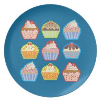 Placa del azul de las magdalenas de Lotsa Plato Para Fiesta