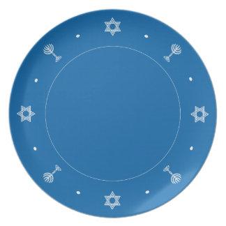 Placa del azul del adorno de Jánuca Plato Para Fiesta
