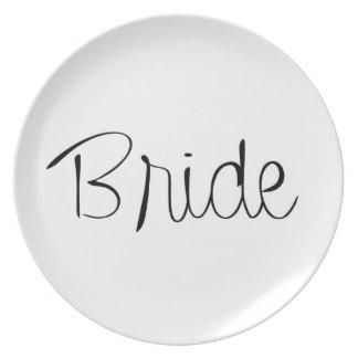 """Placa del banquete de boda de la """"novia"""" platos"""