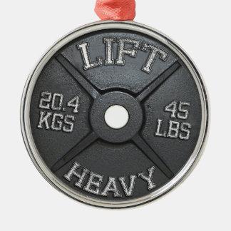Placa del Barbell - levante pesado Adorno Navideño Redondo De Metal