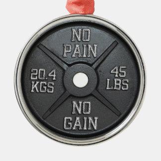 Placa del Barbell - ningún dolor ningún aumento Adorno Navideño Redondo De Metal