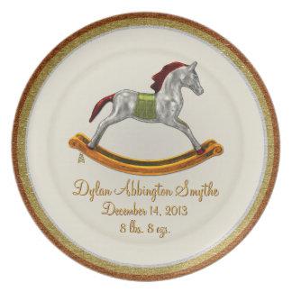 Placa del bebé del recuerdo - caballo mecedora (pe plato de comida
