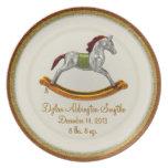 Placa del bebé del recuerdo - caballo mecedora (pe platos