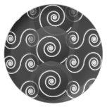 Placa del blanco del negro del remolino de los esp plato de cena