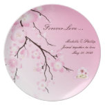 Placa del boda de la flor de cerezo plato de comida