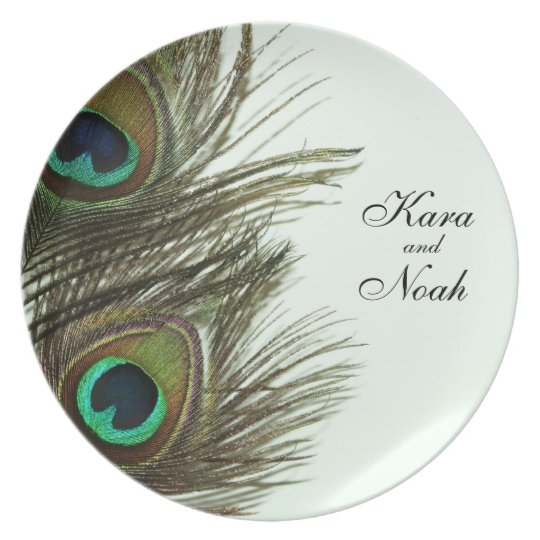 Placa del boda de la pluma del pavo real - persona plato de comida