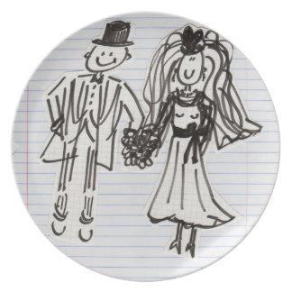 Placa del boda de novia y del novio del dibujo ani plato