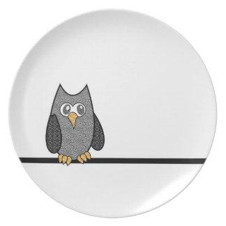 Placa del búho del remiendo platos de comidas